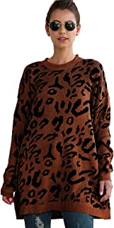 Halfword Womens Leopard Print Oversized Long Sleeve Knit Pullover Sweaters Top