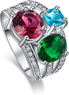 Psiroy Yellow Gold Plated Created Rainbow Topaz Wide Band Statement Ring