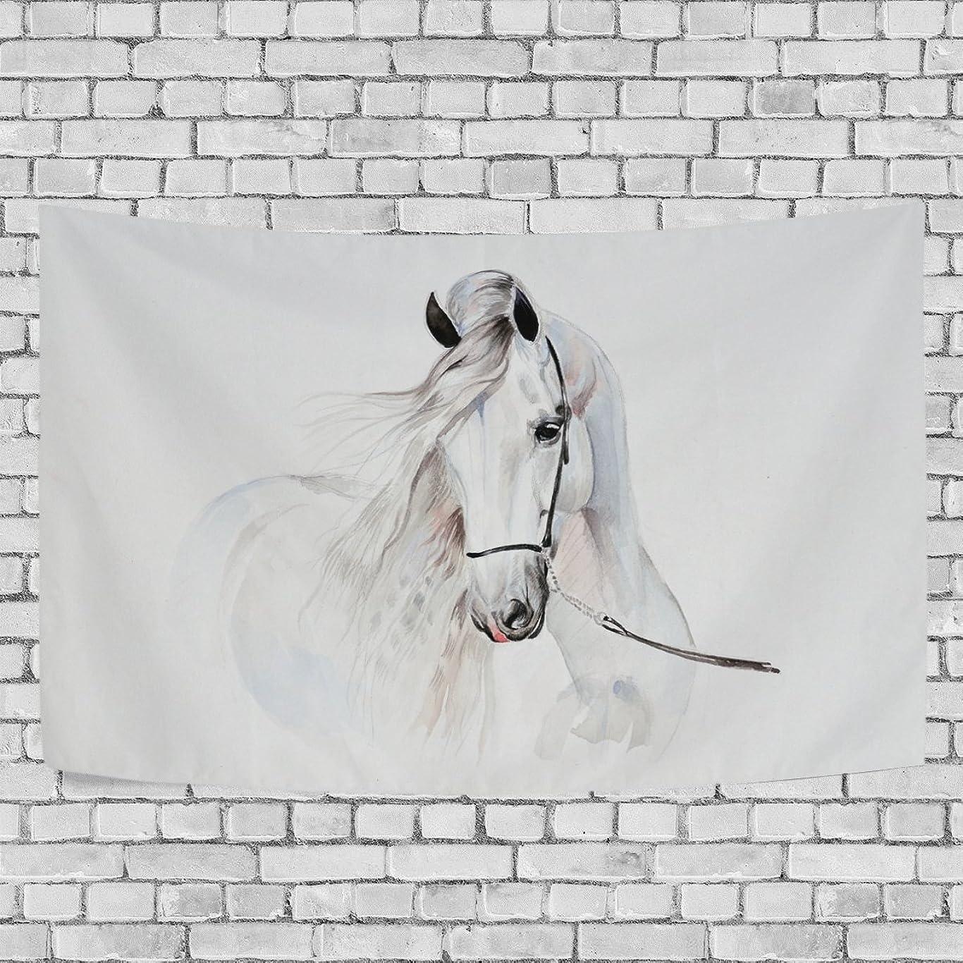 タバコシェトランド諸島酸っぱいVAWA タペストリー 壁掛け おしゃれ かわいい 馬柄 白 絵柄 インテリア 室内装飾 間仕切り ホーム装飾 模様替え 多機能 部屋 窓 大判 約幅203x152cm