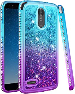 Ruky LG Stylo 3 case, LG Stylo 3 Plus Stylus 3 Case, Gradient Quicksand Series Glitter Flowing Liquid Floating Sparkly Bling Diamond Soft TPU Women Girls Phone Case for LG Stylo 3 (Aqua Purple)
