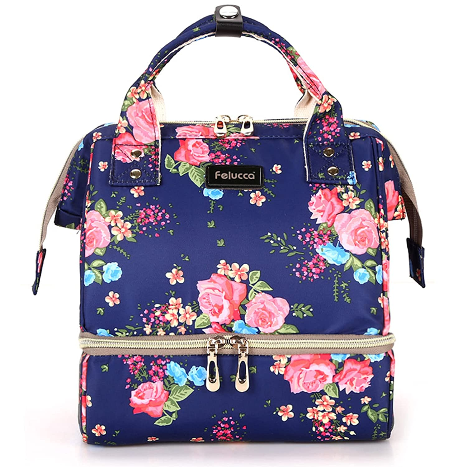 Felucca Diaper Tote Bag Backpack Multifunctional Waterproof Stylish Durable Travel Nappy Bags with Built-in USB Charging Port, BlueFloral