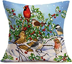 Asamour Vintage Animal Pillow Case Birds are Sitting on The Branch Cotton Linen Throw Pillow Cushion Cover Christmas Decor 18''x18'' (Snow Birds)
