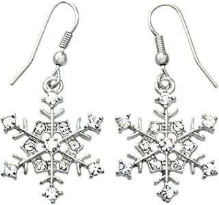 SoulBreezeCollection Winter Snowflake Dangle Drop Earrings Wedding Bridesmaid Christmas Gift for Women