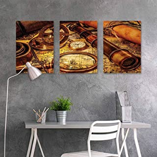 BE.SUN Canvas Print Artwork,Antique,Magnifying Glass Compass Telescope and Pocket Watch on an Old Map Nautical,Modern Decorative Artwork 3 Panels,16x31inchx3pcs,Orange Brown Yellow