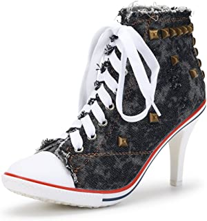 OCHENTA Women's Rivet Canvas Lace Up High Heel Fashion Sneakers Ankle Boots