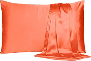 Soft & Comfortable Satin Pillow Cover Pillowcase Silky for Hair & Skin Bedroom Decor (Golden Poppy Orange, Regular Size, 1...