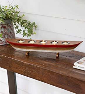 Plow & Hearth Metal Boat Candle Holder Accent