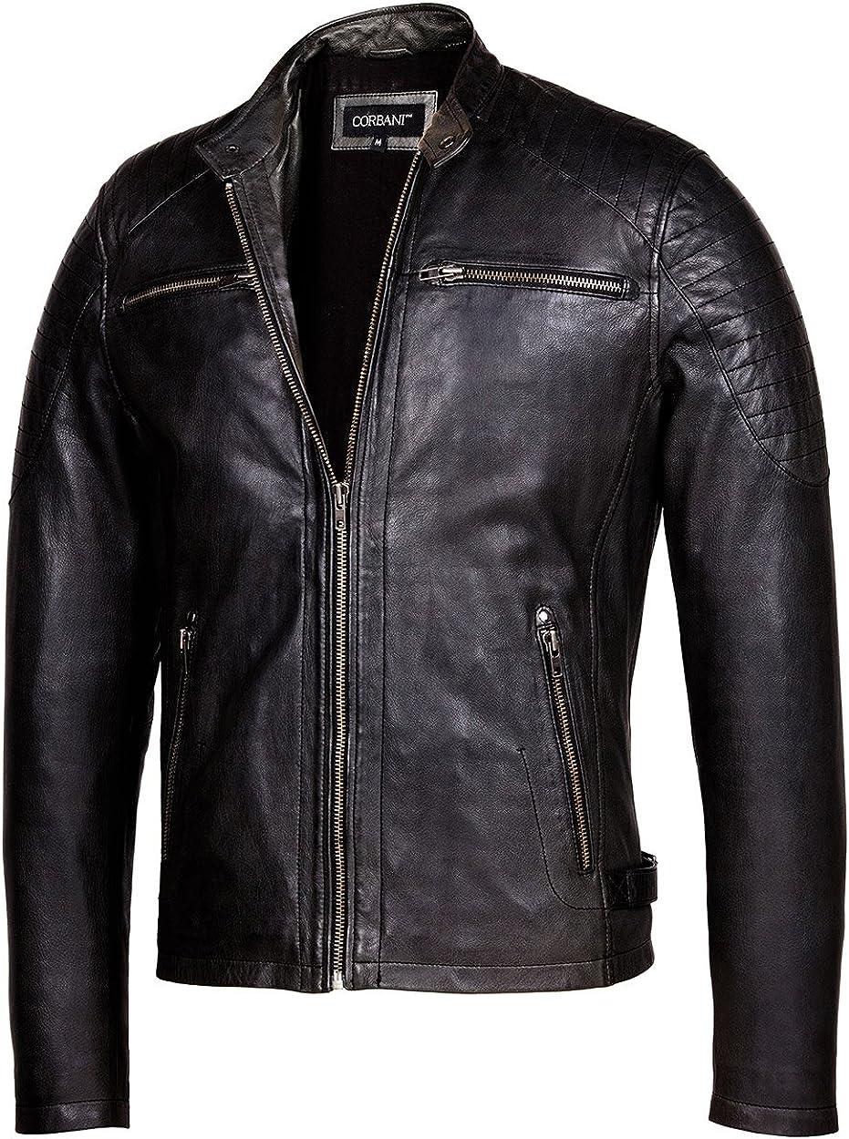 Cafe Racer Leather Tulsa Super sale Mall Jacket Mens Jackets – Genuine
