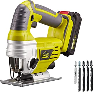 Sponsored Ad – DEWINNER Cordless Jigsaw Saw Tool with 2.0Ah Li-ion 20V MAX Battery, Charger,5*Blades - Includes 3 Stage Pe...