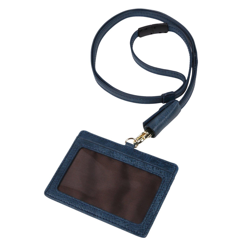 モノボックスジャパン 牛革 IDカードホルダー ネックストラップ 安全装置 長さ調整可能 ストラップカバー付き 軽量 強化フィルム仕様 id-monolether01 (ブラック)