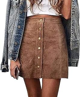 Women's Faux Suede Button Closure Plain A-Line Mini Short Skirt
