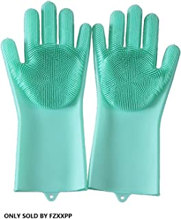 Dishwashing Gloves Silicone Scrubbing Gloves with Long Soft Bristles Heat Resistant Reusable Brush Used to Wash Dishes Kit...