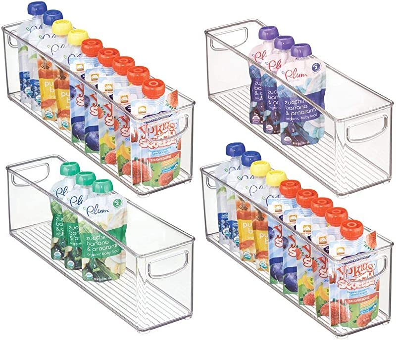 MDesign Kitchen Refrigerator Cabinet Or Pantry Baby Food Storage Organizer Bin With Handles For Breast Milk Pouches Jars Bottles Formula Juice Boxes BPA Free 16 X 4 X 5 4 Pack Clear