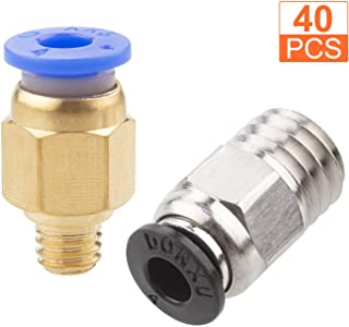 20Pack PC4-M6 Pneumatic Fitting + 20 Pack PC4-M10 Push-to-Connect Fittings, A+Selected Male Straight Connectors – Hex, Quick in Fitting for 3D Printer Bowden Extruder (Pack of 40pcs)