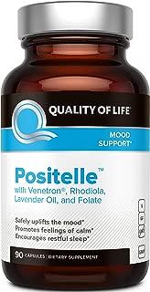 Quality of Life - Positelle - Premium Mood Support Supplement - Improves Mood, Promotes Calmness and Restful Sleep - 90 Vegicaps