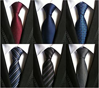 WeiShang Lot 6 PCS Classic Men's Tie Silk Necktie Woven JACQUARD Neck Ties