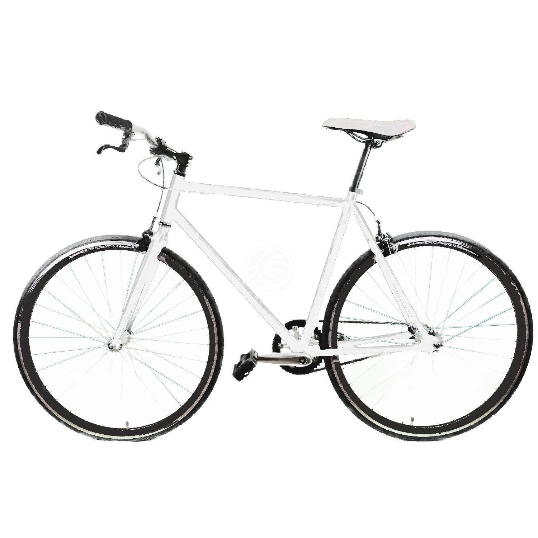 Cablematic - Bicicleta fixie blanca talla M para altura 160 a 175cm: Amazon.es: Deportes y aire libre