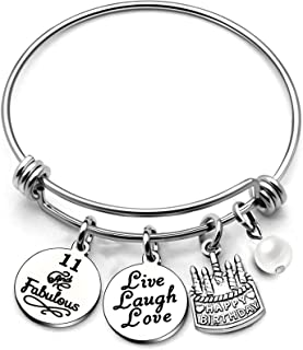 أساور أساور أساور AGR8T هدايا لها عيد ميلاد سعيد أساور كعكة ليف الضحك الحب سحر النساء فتاة