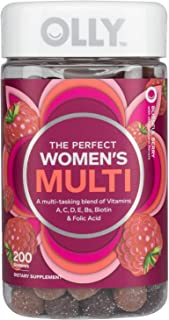 OLLY Perfect Women's Multivitamin Gummy Supplement with Biotin & Folic Acid, Blissful Berry, (100 Day Supply) (200 Gummies)
