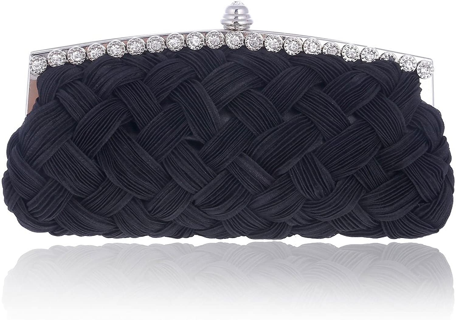 Damara Lady Soft Satin Woven Fabric Crystal Prom Clutch Bag