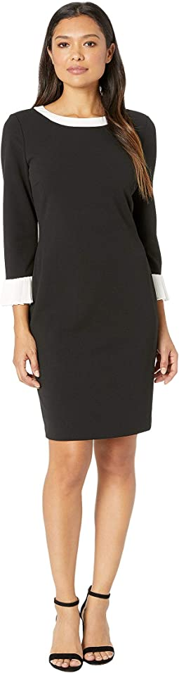 Scuba Crepe Sheath with White Flutter Sleeves