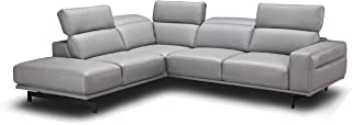 J and M Furniture Davenport LHF Chaise Premium Leather Sectional Sleeper, Light Grey