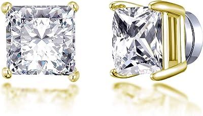 Boucles d'oreilles carrées en or à clips magnétiques créées avec des cristaux Autrichiens