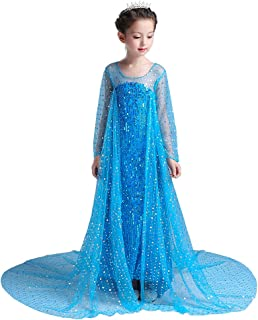 Dressy Daisy Girls' Sequined Princess Elsa Costumes Snow Queen Party Dress Up