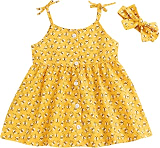 Baby Girl Sunsuit Set Toddler Honey Bees Romper Sleeveless Bodysuit with Headband Summer Outfits