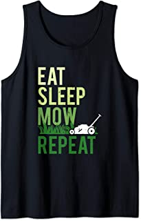 Eat Sleep Mow Repeat | Funny Grass Cutting Landscaper Gift Tank Top