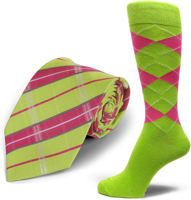 Spotlight Hosiery brand Men's Dress Socks &Necktie Set Lime Green Hot Pink