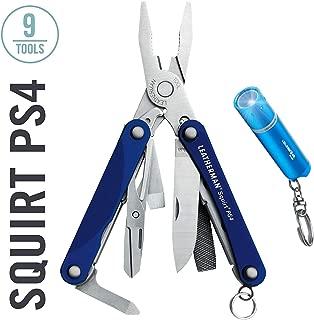 LEATHERMAN - Squirt PS4 Keychain Multi-Tool + Ledlenser K2L LED Flashlight Keyring Torch - Top Value Leatherman Bundle – Blue