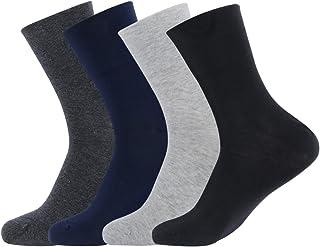 Gather Other, Calcetines sin elástico, transpirables, unisex, de algodón peinado, juego de 4 pares de colores mixtos