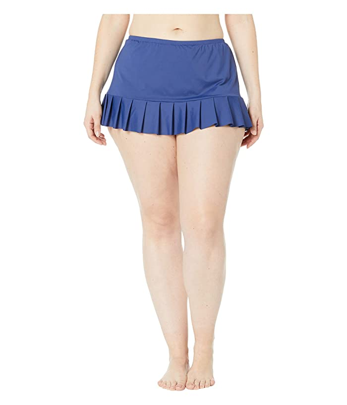 24th & Ocean Plus Size Solids Mid Waist Pleated Skirt Bottoms (Navy) Women