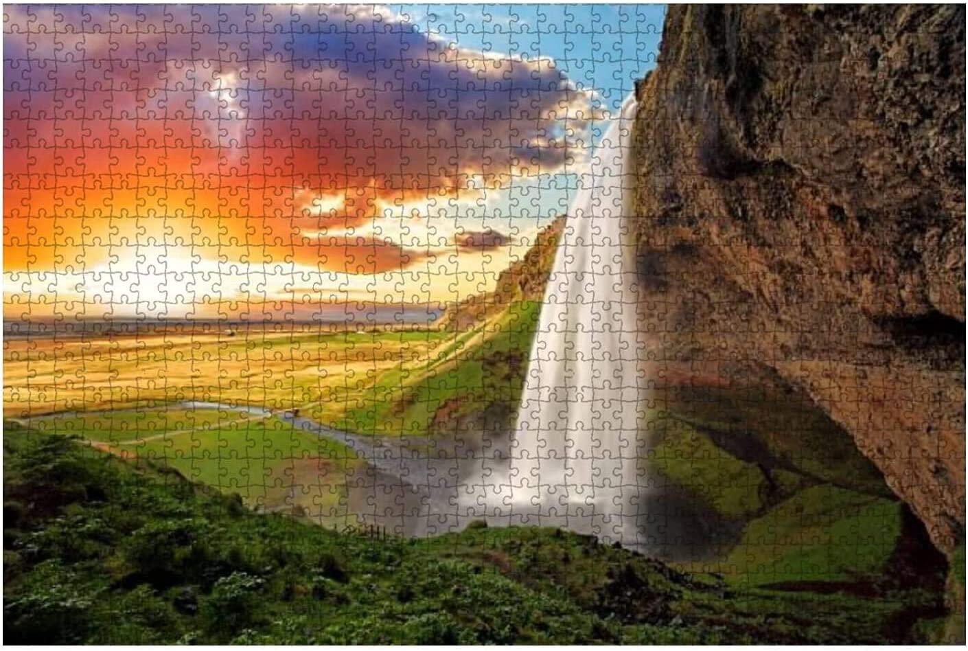 1000 Pieces-Waterfall Iceland Over item handling ☆ seljalandsfoss Scen Max 65% OFF Spring Natural