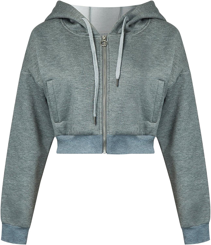 Joeoy Women's Drawstring Zip Up Fleece Hoodie Coat Jacket Crop Top