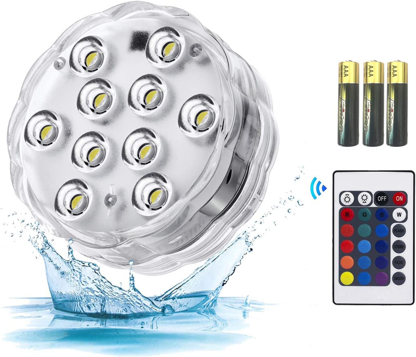 Submersible Led Lights - Waterproof Underwater Lights with IR Remote,16 Color Changing Battery Operated Tea Lights for Pumpkins,Hot Tub,Aquarium,Pool,Wedding,Christmas Party and Halloween Decor 1pack