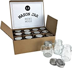 Mini Mason Jar 4 Ounce Mugs - Set of 12 Glasses With Handles And Leak-Proof Lids - Great For Gifts, Drinks, Favors, Candle...