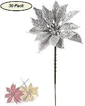 Larksilk Silver Glitter Poinsettia Christmas Tree Picks Decorations (30 CT), Artificial Flower Christmas Tree Décor Ornaments, 4
