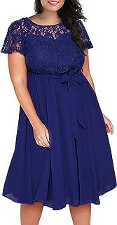 Nemidor Women's Scooped Neckline Floral lace Top Plus Size Cocktail Party Midi Dress