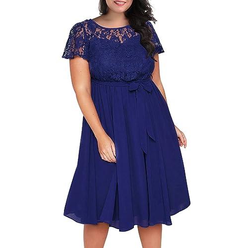 fbb84092b26 Nemidor Women s Scooped Neckline Floral lace Top Plus Size Cocktail Party  Midi Dress
