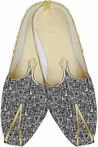 INMONARCH Herren Grau Hochzeit Schuhe Geometrischen Design MJ015262