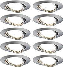 Paulmann 93399 LED-inbouwarmatuur Sokkel rond zwenkbaar max. 10x10 watt inbouwspot ijzer geborsteld inbouwlamp metalen pla...