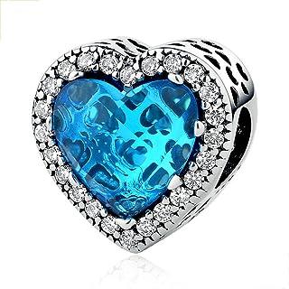 Syangpang 925 Sterling Silver Charm Heart Shaped Crystal Stone Bracelet (Blue)