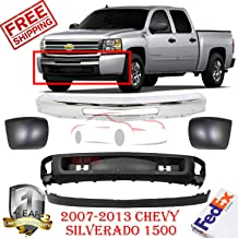 Front Bumper Kit For 2007-2013 Chevrolet Chevy Silverado 1500 Lower Valance Bumper End Left Hand Sight & Right Hand Side Direct Replacement Set of 5 GM1002831 GM1092191 GM1092192 GM1017103 GM1016103