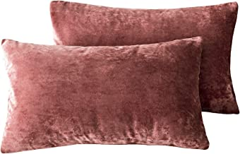 David's Home Velvet Throw Pillow Covers 2-Pack 30cm x 50cm Burgundy Rectangle Lumbar Home Decorative for Sofa Couch Bed Car