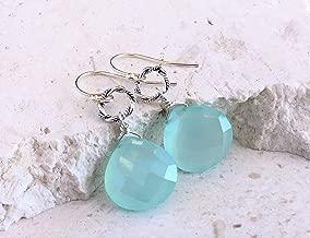 Sterling Silver Aqua Blue Chalcedony Earrings - Gemstone Jewelry - Gift For Women