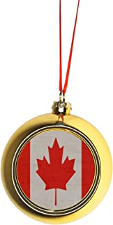Rosie Parker Inc. Flag Canada Bauble Christmas Ornaments Gold Bauble Tree Decoration