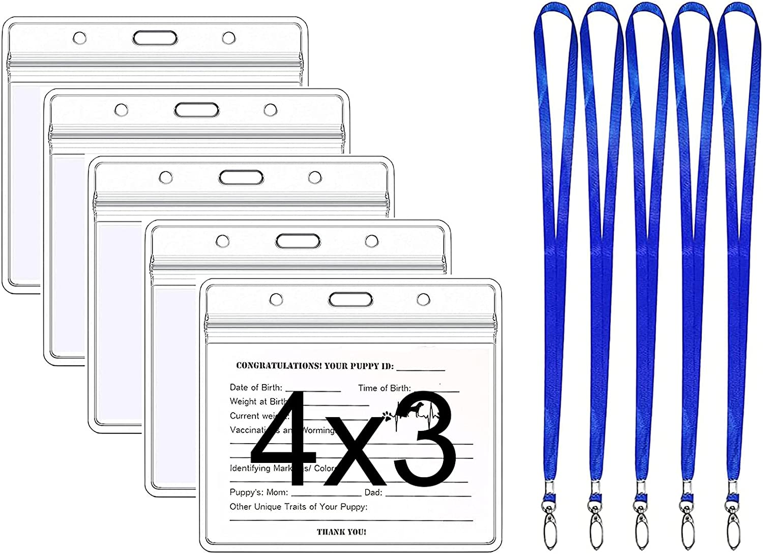 Ranking TOP8 5 Pack - NEW before selling 4 x 3 Holder Clear Card Badge Protector Inches