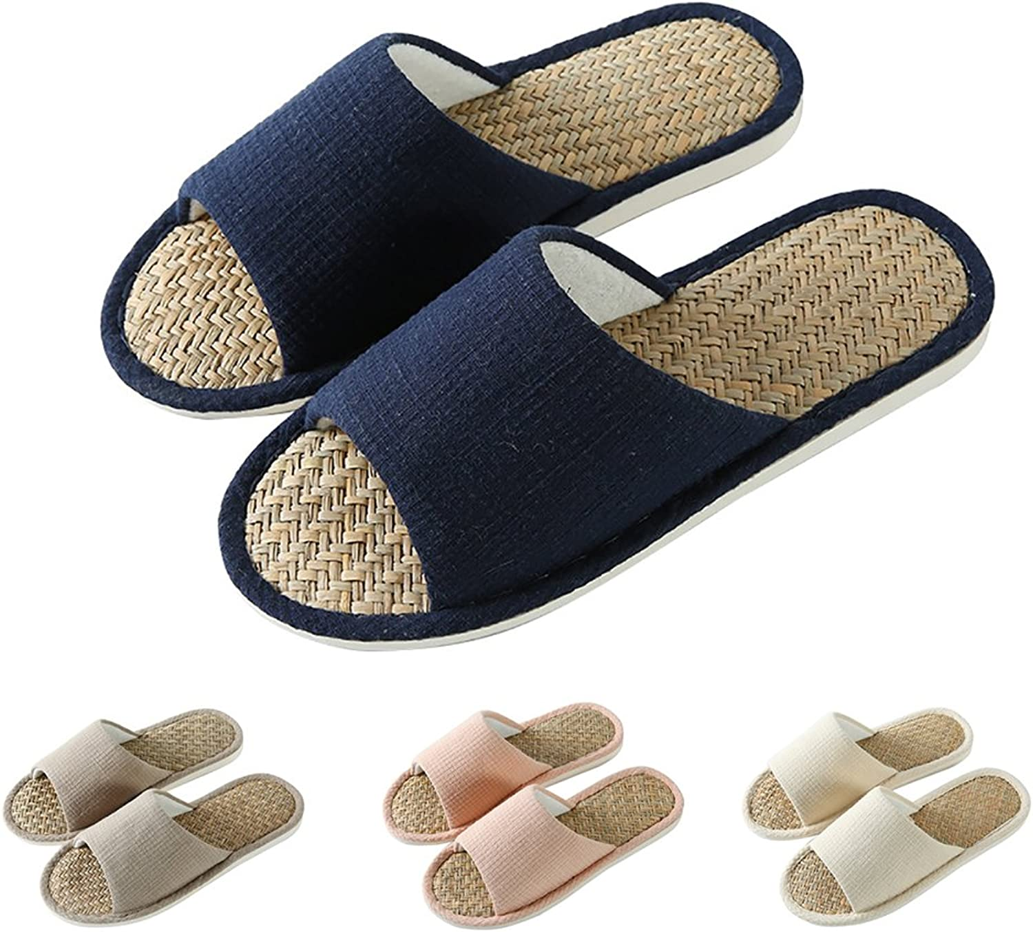 MAGILONA Women Mens Unisex Straw Weaving Cotton Linen Open-Toe Home Slippers shoes Casual Flax Soft Non-Slip Sole shoes